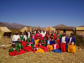 Uros Islanders at Lake Titicaca